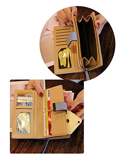 Donna Portafoglio Portafogli Borsa Portamonete Borsello Borsellino Borsetta Lungo Floreale con Tasca per Carte di Credito, Banconote, Tasca con Cerniera, in Confezione Regalo (Nero) Marrone