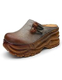 KJJDE Planas Sandalias Retro Elegantes HUIGU-F689 Accesorios de Botones Creativos Zapatillas Mujer de Verano Mocasines...