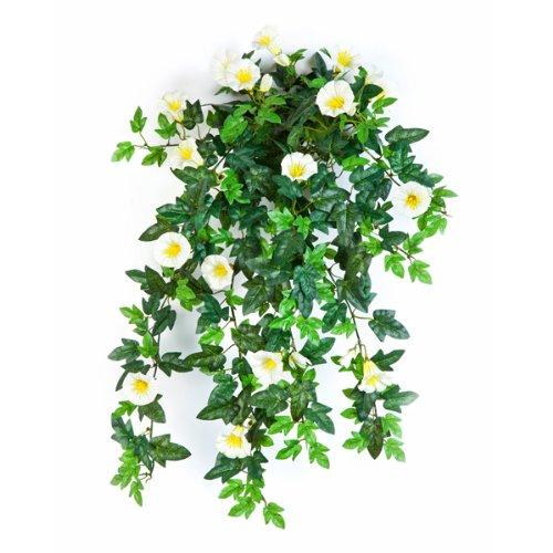 artplants Set 3 x Künstlicher Petunien-Hänger, 320 Blätter, 28 Blüten, gelb-Weiss, 55 cm – naturgetreue Kunstblumen/künstliche Ranken