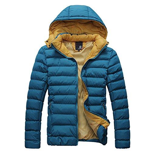 Highdas Coton manteaux d'hiver d'homme Doudoune Hommes super chaude design capuche Homme Veste ¨¦paisse ext¨¦rieure Bleu