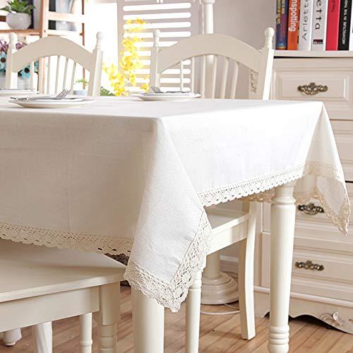Zantec tovaglia rettangolare moderna copritavola in cotone tinta unita in lino con pizzo per banchetti - 140x220cm