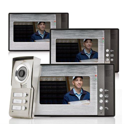 KIT VIDEOCITOFONO PER 3 ABITAZIONI VISIONE NOTTURNA