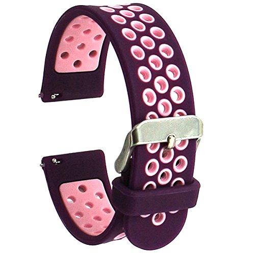 Elespoto 20mm Schnellwechsel-Uhrenarmband Silikon-Gummi-Armband für Samsung Classic Huawei 20mm Männer, Pebble Time Round 20mm, Bradley Timepiece (Purple Pink)