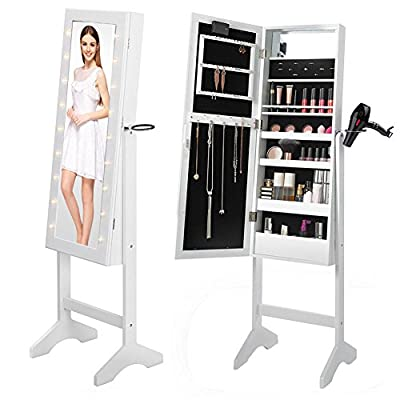 Full Floor Standing White Mirror Makeup - Jewellery Organiser with LED Lighting By WarmieHomy