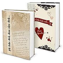 Set: 2 DIN A5 Hardcover Einschreibebücher Blanko-buch für die persönliche LIEBES-GESCHICHTE - zum selbst gestalten schreiben, 136 leere Seiten, VINTAGE in beige-braun + rot beige schwarz mit Herz