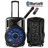 "Fenton Portable DJ PA Speaker System 15"" 800w Bluetooth Music Lights and Wireless"
