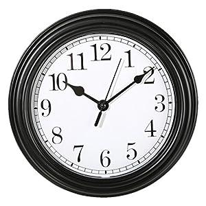 Wanduhr Küchenuhr Uhr Nostalgie Landhaus antik Classic Büro 22 cm Rund (Schwarz)