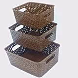 #10: Classsware™ Storage Basket For office, Bathroom, Cloth storage, Kitchen Set of 3 Without Lid Brown Color