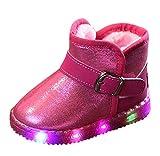 Amcool Kinder Baby Schuhe LED leuchten Sneakers Winter warm Schneestiefel (Pink, 27)