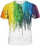 TDOLAH herren bunt galaxy T-Shirt Sport Rundhals Spaß Motiv Tops (M ( TAG L ), bunt)
