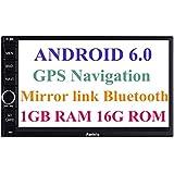 Panlelo Android 6.0 Head Unit Coche Estéreo Navegación GPS 7 Pulgadas Coche Radio Pantalla Táctil Bluetooth WIFI Mirror Link SWC Quad Core 1GB RAM 16GB ROM AM/FM/RDS