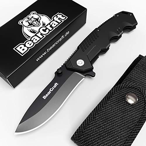 BearCraft Klappmesser in Mattschwarz mit **GRATIS eBook** | Scharfes Outdoor Survival Taschenmesser | Kleines Einhand-Messer mit Edelstahlklinge und Aluminiumgehäuse | Einsetzbar für Wandern Camping