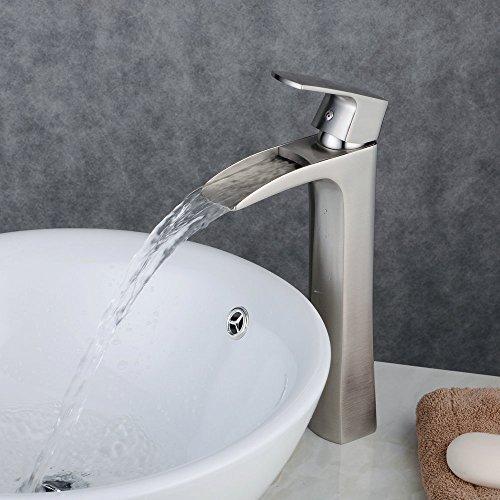 Preisvergleich Produktbild Beelee BL0556NH Hoch Wasserfall Waschtischarmatur Einhebelmischer Wasserhahn Waschbecken Armatur Gebürsteter Nickel Messing