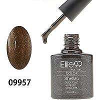 Elite99 Smalto Semipermanente Gel UV LED Serie Shellac Colore 7.3ml Perlato Caffè Marrone - Serie Smalto
