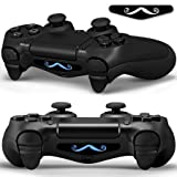 2x LED Sticker 2x Thumb Grips für PlayStation 4 Controller Light Bar Decal Skin Sticker – moustache Bart Hipster #3