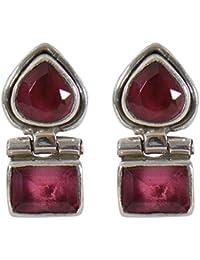 Silverwala 925-92.5 Sterling Silver Ruby Stone Stud Earring for Women and Girls Ruby Silver Stud Earring