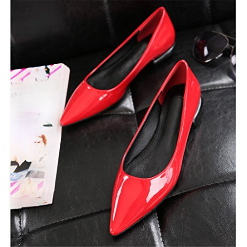 QIYUN.Z Femmes Elegantes Sexy Pointues En Cuir Verni Orteil Partie Couleur Bonbon Chaussures Talon Plat Rouge