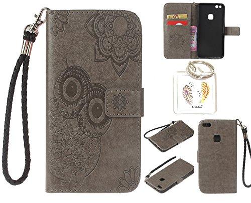 Preisvergleich Produktbild für Huawei P10 Lite PU Leder Silikon Schutzhülle Handy case Book Style Portemonnaie Design für Huawei P10 Lite + Schlüsselanhänger ( WAQ (5)