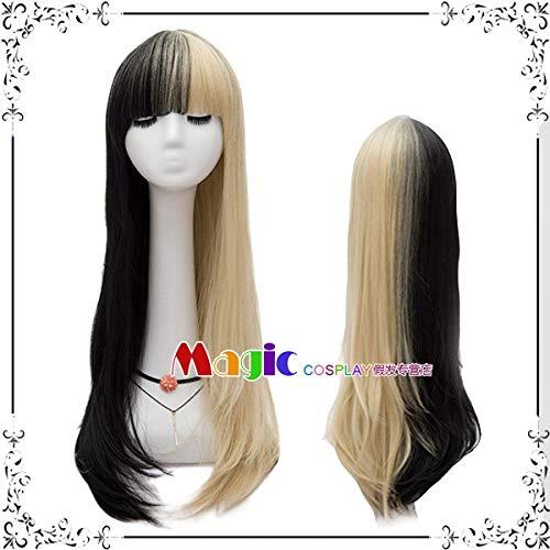 Perücken täglich schwarz Pulver grau weiß gold rot doppelt lange glatte Haare Hali Kui Yin Clown weibliche COS Perücke, Schwarzgold Doppel Zauber LW1676, eine Größe