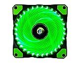 CONISY 120 mm Ventola PC Ultra Silenzioso Cuscinetto LED Ventilatore di Raffreddamento per Gaming Computer Case (verde)