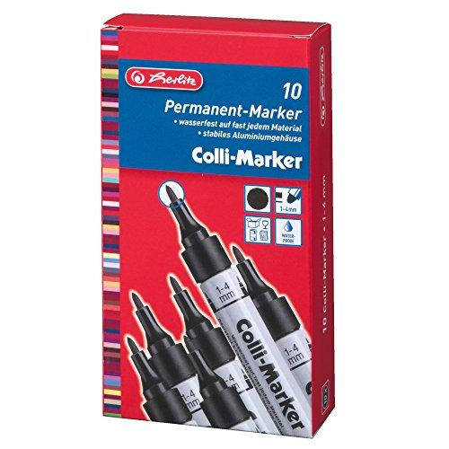 Herlitz 8860603 Colli Marker 1-4 mm schwarz 10 Stück wasserfest, permanent