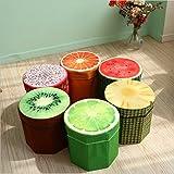 Folding Storage Organizer Ottoman Stool, Cute 3D Creative Fruit Velvet Children Toy Storage Box, Footstool Seat ( 1 Pcs )