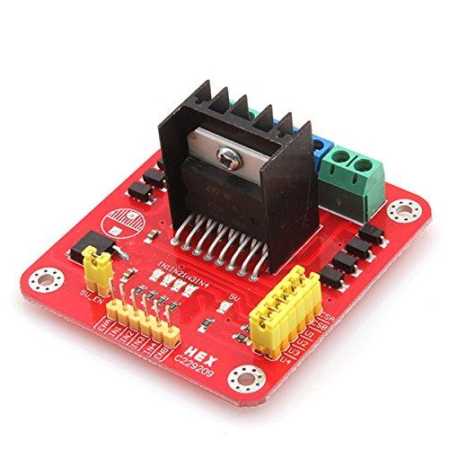 WEONE Ersatz 20W Red L298N 2-Phasen-Schritt DC-Motortreiber -Controller-Regler-Brett-Modul für Smart Car 55mm * 60mm * 30mm (2 Ersatz-motor Speed)