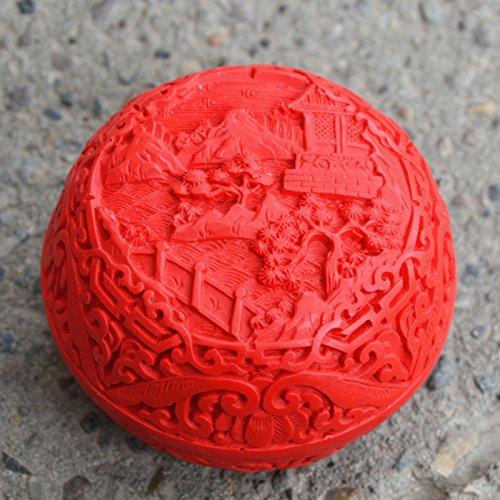 YLJE-Beijing Lacquerware Lack 3-Zoll-Pfingstrose Lacquerware kleine Schmuckkästchen geschnitzt Volkskunst Geschenke,Rot - Box Volkskunst