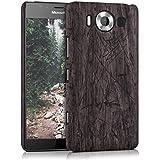 kwmobile Funda Hardcase Diseño madera vintage para Microsoft Lumia 950 en marrón oscuro