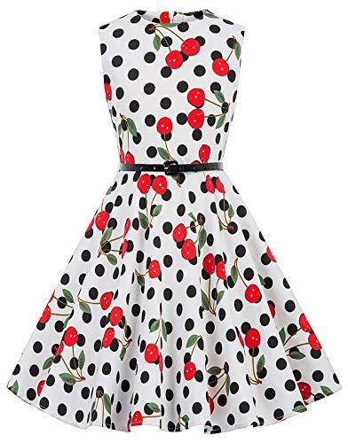 Kate Kasin Maedchen Retro Kleid Aermellos Kleid 11-12 Jahre KK250-29 (Für Schule Mädchen Kleider)