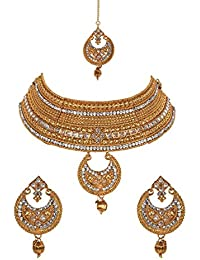 Jewels Gold Traditional Antique Golden Bridal Necklace With Earrings Set & Maangtika For Women & Girls