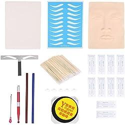 Kits de tatuaje de cejas permanentes maquillaje práctica de principiante 3D Liner de tinta de pigmento de la piel y sombreador Microblading Eyebrow Blade Pen Pigmento de anillo