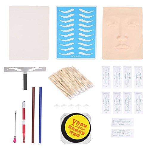 Tätowierset für Augenbrauen, Augenbrauenlineal, weiße Haut, Microblading Stift, Augenbrauenstift, Pigment, Schüttelstab, Nadeln, Wattepads
