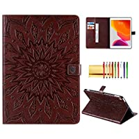 """Folio Case for New iPad 8th Generation/7th Generation 10.2"""", Techcircle Sunflower Embossed Leather Solid Stand Smart Protective Wallet Cover with Card Slots & Money Holder, Auto Wake/Sleep, Brown"""