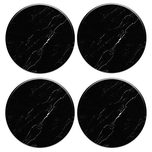 CARIBOU Coasters Karibu Rund Keramik Stein Untersetzer 4Stück, Becher Kaffee Tasse Tischset Home Untersetzer für Heiße und Kalte Getränke, Blau Anker Holz, Oriental Black Marble