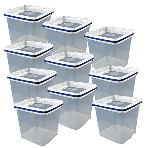 10 x 5 L Eimer mit Deckel eckig KLAR Kunststoff Plastikeimer lebensmittelecht Klar Eimer