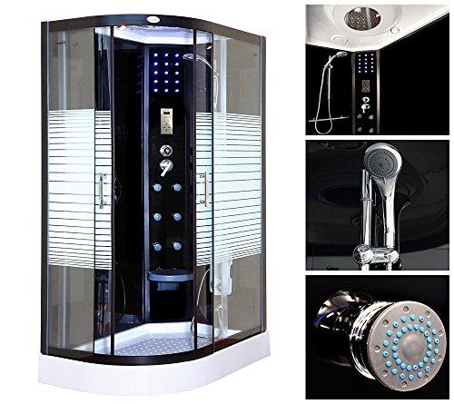 Home Deluxe Black Pearl 120×80 cm links Duschtempel, inkl. Dampfsauna und komplettem Zubehör - 2