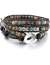6945f7107480 MunkiMix Aleación Genuina Cuero Pulsera Brazalete Brazalete Manguito Cuerda  Bola Bead 3 Envolver Wrap Ajustable