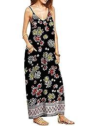 Minetom Mujer Elegante V-Cuello Sin Mangas Impresión Suelta Largo Vestido Boho Comodidad Maxi Dress
