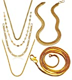 Charms Combo of Six Gold Plated Chains for Boys & Men...