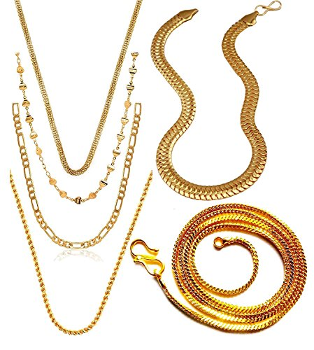 Charms Combo of Six Gold Plated Chains for Boys & Men (Golden)(CH-012-18-19-21-22-29)