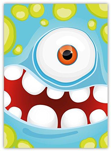 Preisvergleich Produktbild 12 Lustige Einladungskarten im Set für Kindergeburtstag Party mit Monster für Jungen Mädchen Kinder Top Geburtstagseinladungen Karten Monsterparty Einladung farbenfroh Alien witzig