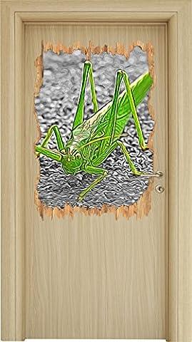 freche kleine Heuschrecke schwarz/weiß Holzdurchbruch im 3D-Look , Wand- oder