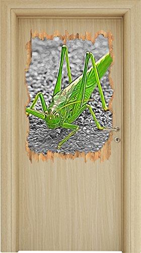 freche kleine Heuschrecke schwarz/weiß Holzdurchbruch im 3D-Look , Wand- oder Türaufkleber Format: 92x62cm, Wandsticker, Wandtattoo, Wanddekoration (Heuschrecken Schwarze)