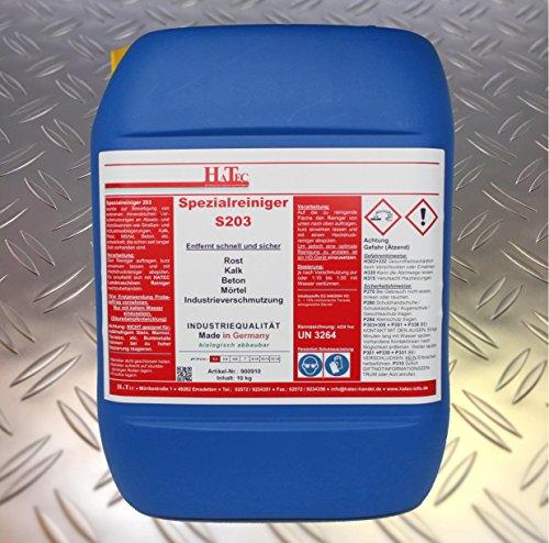 HaTec Spezialreiniger S203 10-kg/Kanister ist ein saures Spezialprodukt, das eingesetzt wird als: Kalk-Entferner, Rost-Entferner, Beton-Entferner, Landmaschinen-Entkalker, Traktor-Entkalker