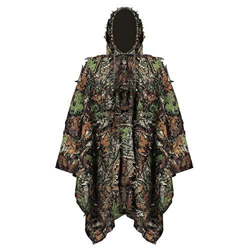 qxj Erwachsene 3D Waldland Tarnung Kleidung Blatt Camouflage Poncho Verdeckte Kap Mantel Stealth Ghillie Set Military CS,OneSize-OneColor