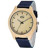 George Smith Unisex 45mm Zifferblatt Handgemachte Armbanduhr aus Natürlichem Holz Quarz Armbanduhr mit Echtem Lederarmband