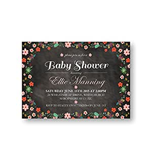 Occasions Direct-Biglietti di invito per party, Baby Shower, confezione da 10 pezzi, consegna gratuita & buste, lavagna e fiori (n. 21)
