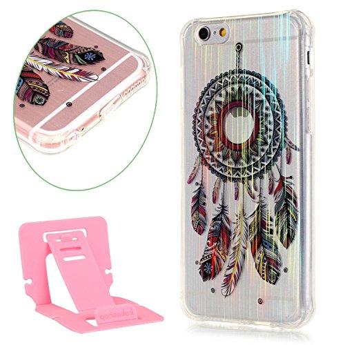 iPhone 6 plus Case, iPhone 6S plus Caso, Ekakashop Bling di modo di disegno del diamante ultra sottile laser di TPU Gel silicone flessibile(con la spina della polvere) cover protettiva trasparente cov Campanula