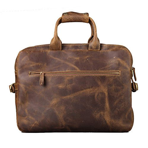Kattee Men's Leather Briefcase Messenger Bag, 16 Inch Laptop Bag, Coffee